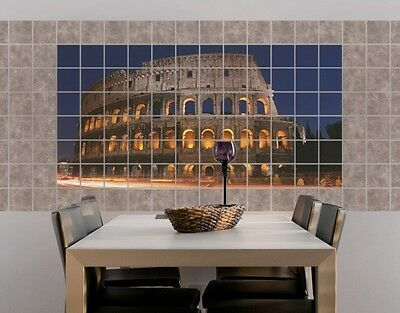 Tile Mural Colosseum in Rome at night