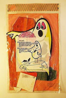 Vintage 1960's Spooky Halloween Ghost with Coffin 3-D Cardboard Centerpiece