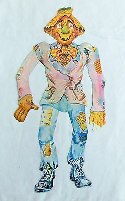 Vintage 1960's Halloween Comical Scarecrow Jointed Cardboard Decoration