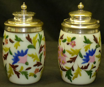 Antique Victorian Opaque Enamel Painted Glass Condiment & Shaker w Silver Mounts