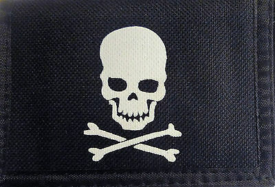 Men Boys Pirate Skull & Crossbones Trifold Velcro Canvas Wallet wi Compartments