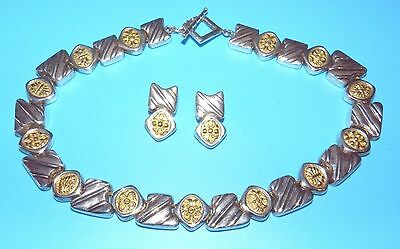 Beauty DEBORAH ARMSTRONG CO DAC Signed STERLING SILVER GOLD NECKLACE & EARRINGS