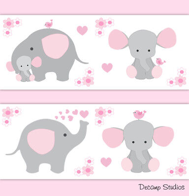 Pink Grey Elephant Nursery Baby Girl Wallpaper Border Wall Art Decal Stickers