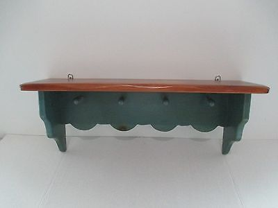 Handmade In Vermont Decorative Pine and Blue/Green Shelf With Pegs Scalloped