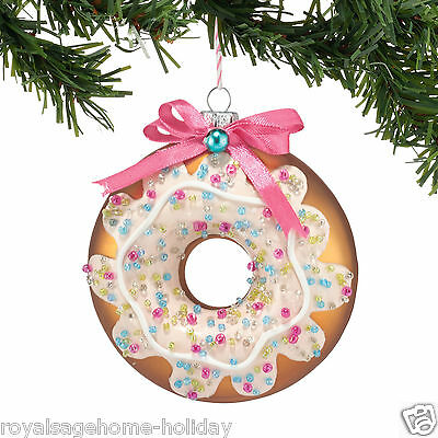 4048491 Dept 56 Glazed Chocolate Doughnut Glass Christmas Ornament Sweet Suite