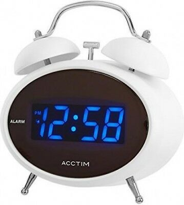 Acctim Dexter Digital LED Alarm Clock with Snooze & Twin Bell | White