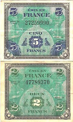 1944 France 5 & 2 Franc Bank Notes, Allied Military Issue, World War II