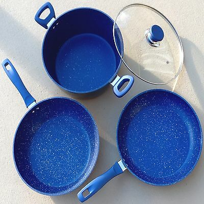 Cookware Set Frying Pan Saucepan Sets Stone Coated Blue Non Stick CERAMIC New