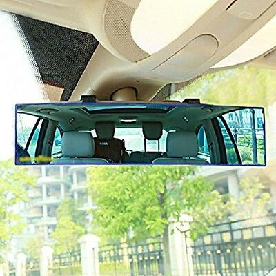 1X Universal 300mm Panoramic Wide Curve Convex Interior Clip On Rear View Mirror