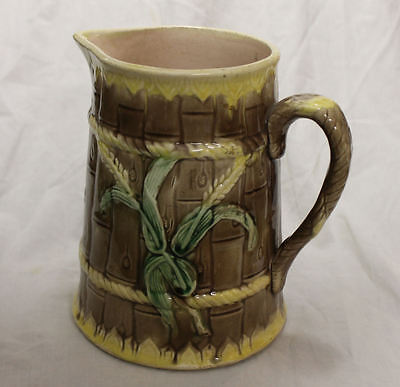 Antique Majolica Bamboo Design Large Pitcher - Unique and Colorful
