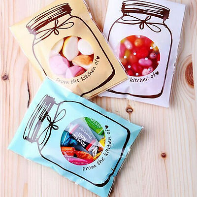 100Pcs Bottle Candy Bags Design Biscuit  Plastic Seal Wedding Gift Bag