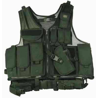 XXL Size BLACK Universal Tactical Vest With Many Pouches,Quick Draw Holster Belt