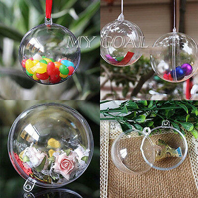 10PCS Clear Candy Box Baubles Balls Christmas Tree Ornament Wedding Party Decor