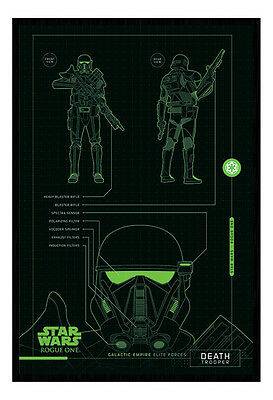 Framed Star Wars Rogue One Death Trooper Plans Poster New