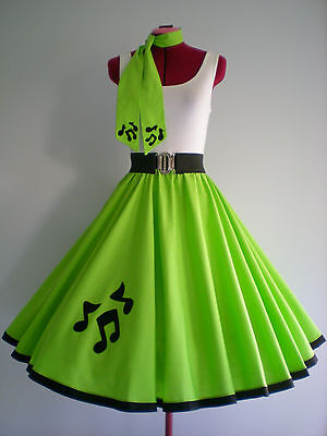 """ROCK N ROLL/ROCKABILLY """"Music Notes"""" SKIRT-SCARF S-M Lime Green."""