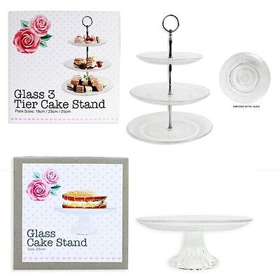 Vintage Clear Glass Cake Stands Birthday Wedding Party Cake Serving Display