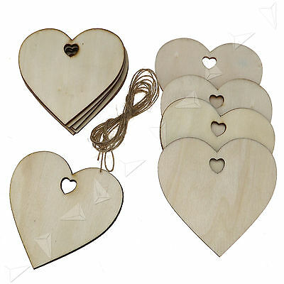 10 X Wooden   Christmas Xmas Tree Hangers Craft Tags Gift Heart shape