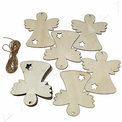 10 X Wooden  Christmas Xmas Tree Hangers Craft Tags  Wings Doll New