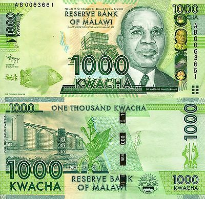 MALAWI 1000 Kwacha Banknote World Paper Money UNC Currency Pick p-62 Bill Note