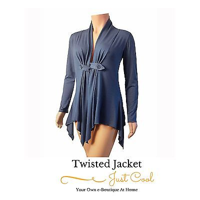 Ladies Twisted Blue Sexy Jacket Top Evenings Parties Night Club Size 20