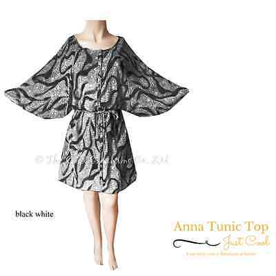 Anna - Ladies Black on White Kaftan Kimono Style Comfy Top UK Size 24