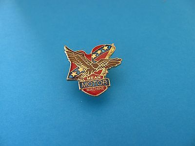 Motorcycle pin badge, Unused. USA, Mean Moto Machine.