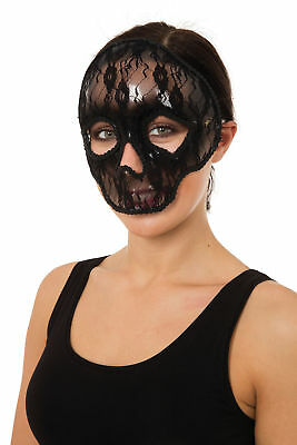 Skull Mask Lace Accessory for Halloween Masquerade Cosplay Fancy Dress