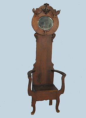 Antique Oak Hall Tree with Seat – Round beveled mirror - Storage in Seat
