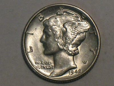 1942-S Mercury Dime - 90% Silver Us Coin - Winged Liberty