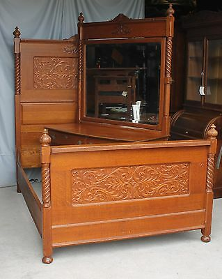 Antique Carved Oak Two Piece Bedroom Set - Bed and Dresser with Mirror