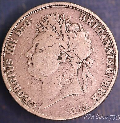 1821 George IV Crown, 5/- 5 shillings nice coin, Silver 925 [7313]