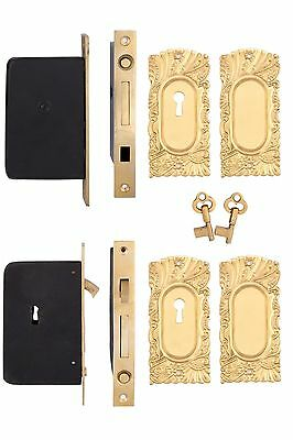 Roanoke Double Pocket Door Locking Set Antique Copper & Brass
