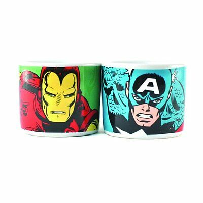 Marvel Comic Set of two Ceramic Egg cups. Captain America. Gift. Kitchen. Home.