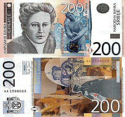 SERBIA 200 Dinara Banknote World Paper Money UNC Currency Pick p-42 Bill Note