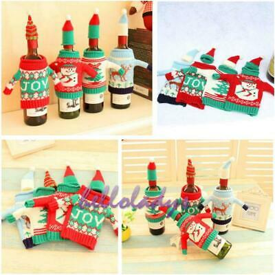 1 Set Christmas Party Ugly Sweater Wine Bottle Cover Kitchen XMAS Wine Gifts H