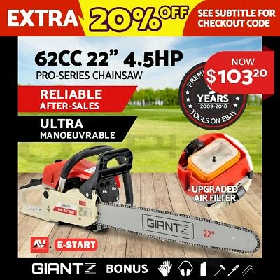 "Giantz 62cc Commercial Petrol Chainsaw 22"" Bar E-Start 2*Chains Saw Tree Pruning"