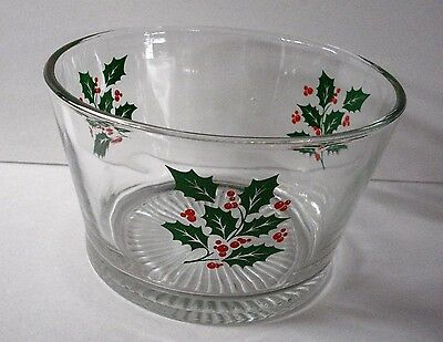 Vintage Indiana Glass Christmas Holly Serving Bowl - Ice Bucket - Chips - Candy