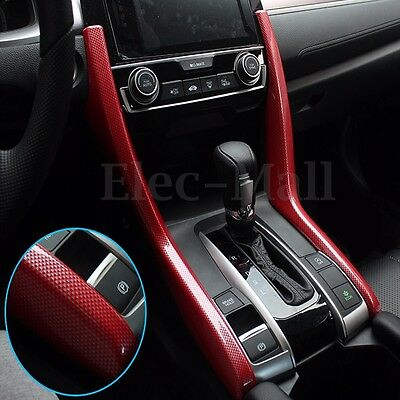 Red Carbon Fiber Look Dashboard Gear Side Cover Trims For Honda Civic 2016 2017
