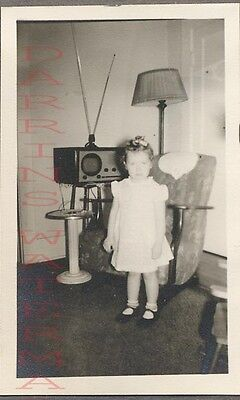 Vintage 1940s Photo Girl w/ Small Round TV Television Set 707716