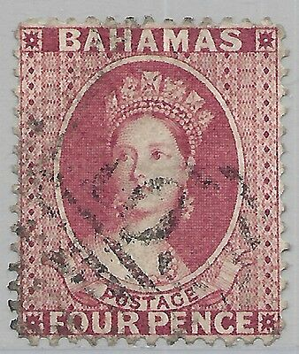 BAHAMAS: SCOTT 18 USED FINE+ - 1882 4p ROSE - QUEEN VICTORIA -  CAT $75