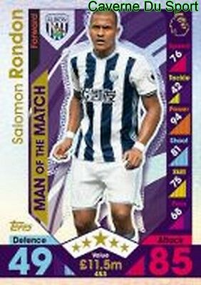 453 Rondon Venezuela West Bromwich Albion Man Card Premier League 2017 Topps