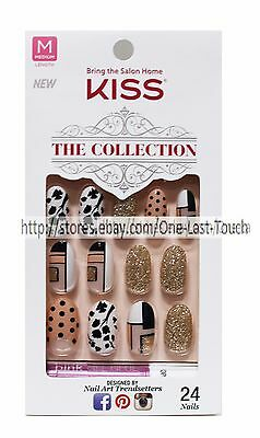 KISS 24 Glue/Press-On Nails NUDE+BLACK+GOLD Collection MEDIUM Oval #62270 3/10