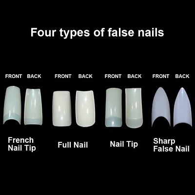 500 Natural Clear White Half Full French False Nail Art Tip Acrylic Well UV Gel