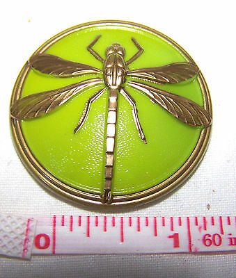 Vintage Czech Olive Green Glass Button - Dragonfly