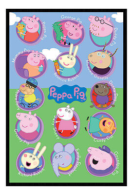 Framed Peppa Pig Multi Characters TV Poster New