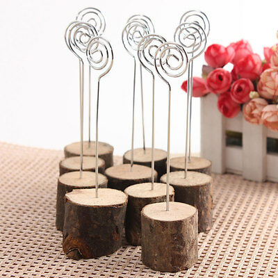 Wooden Base Rustic Wedding Table Number Place Name MEMO Card Stand Holder 10PCS