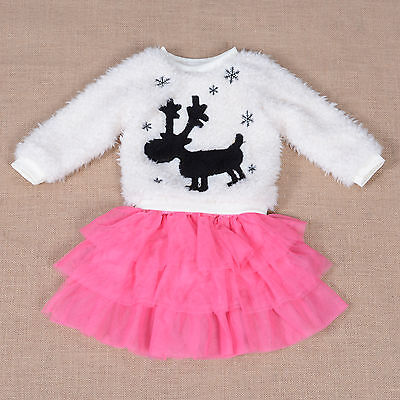 New Fluffy Ivory Jumper and Hot Pink Tulle Skirt Set 4-5 Years