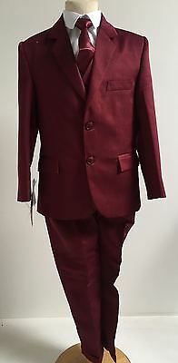 Boys Kids 5 Piece Formal Gorgeous Collection Burgandy Suit  1Years -16Years