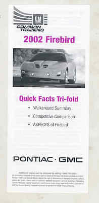 2002 Pontiac Firebird and Trans Am vs Mustang GT Salesman's Brochure mx7478