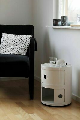Kartell Style Componibili Bedside Slide Drawer Round Table Book Cd Storage Unit